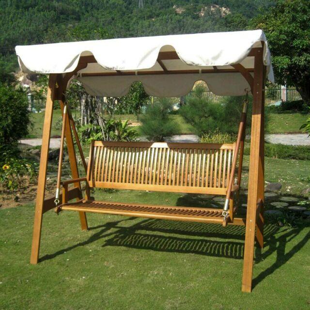 Inspiration about International Caravan Royal Tahiti 3 Seater Garden Swing Ivory Throughout 3 Seat Pergola Swings (#18 of 20)