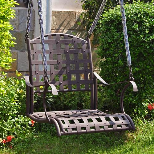 International Caravan Santa Fe 1 Person Antique Black Iron Outdoor Swing At  Lowes With 2 Person Antique Black Iron Outdoor Swings (#5 of 20)