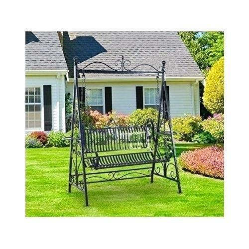 Iron Garden Swing With Regard To 1 Person Antique Black Iron Outdoor Swings (#9 of 20)