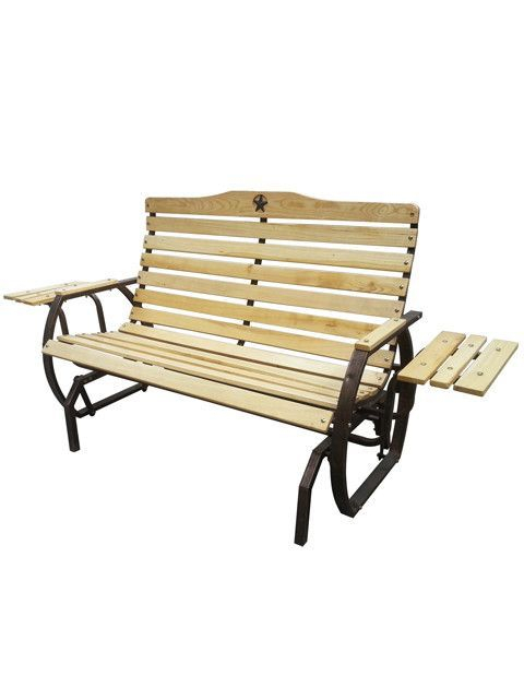 Iron Grove Slatted Glider Bench | Bench, Gliders, Wood, Metal Regarding Iron Grove Slatted Glider Benches (View 7 of 20)