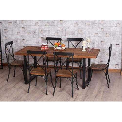 Iron Wood Dining Tables For Newest 6 Seater Wrought Iron Dining Table Set (View 16 of 20)