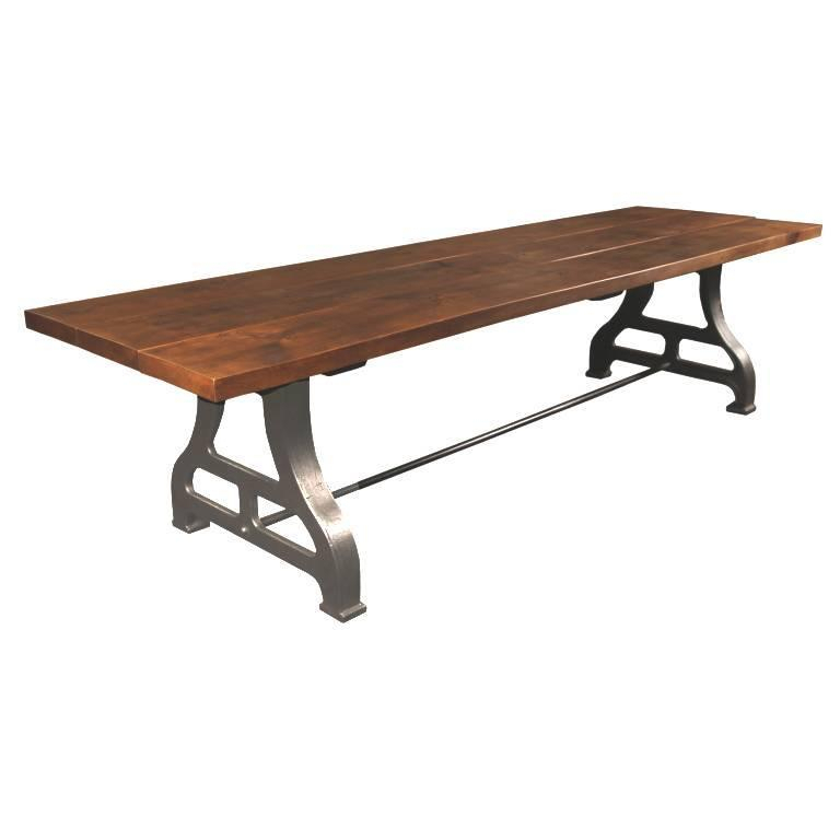 Iron Wood Dining Tables For Newest Industrial Plank Top Dining Table – Rough Sawn Pine Wood & Cast Iron Legs (View 3 of 20)