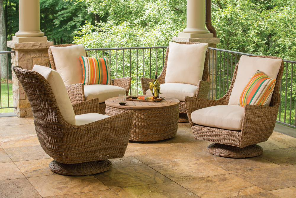 Inspiration about Item | Lloyd Flanders – Premium Outdoor Furniture In All Throughout Woven High Back Swivel Chairs (#12 of 20)