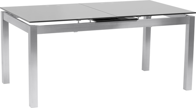 Inspiration about Ivan Extension Dining Table, Brushed Stainless Steel And Gray Tempered  Glass Top Pertaining To Newest Modern Glass Top Extension Dining Tables In Stainless (#1 of 20)