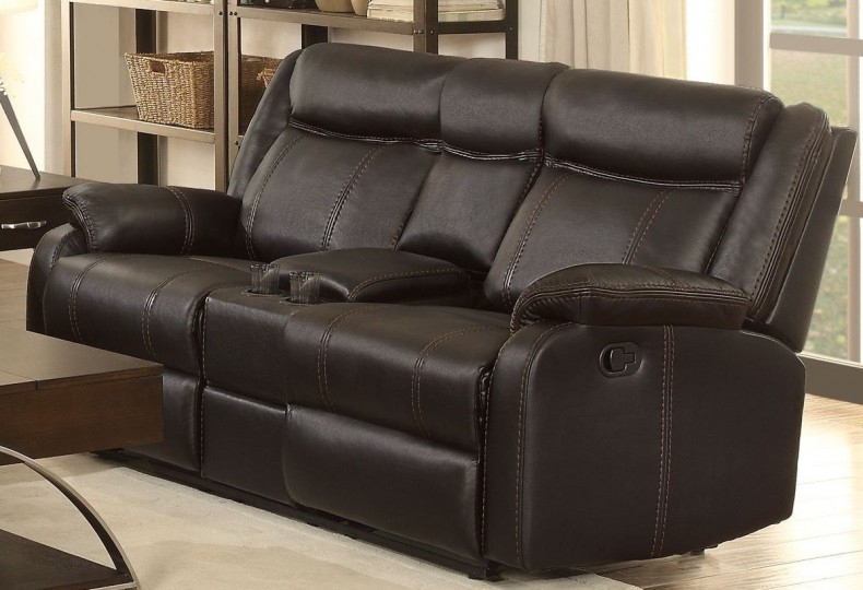 Jude Black Double Glider Reclining Loveseat Throughout Double Glider Loveseats (#13 of 20)