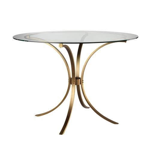 Karter Modern Classic Round Clear Glass Gold Metal Dining In Fashionable Modern Gold Dining Tables With Clear Glass (#7 of 21)