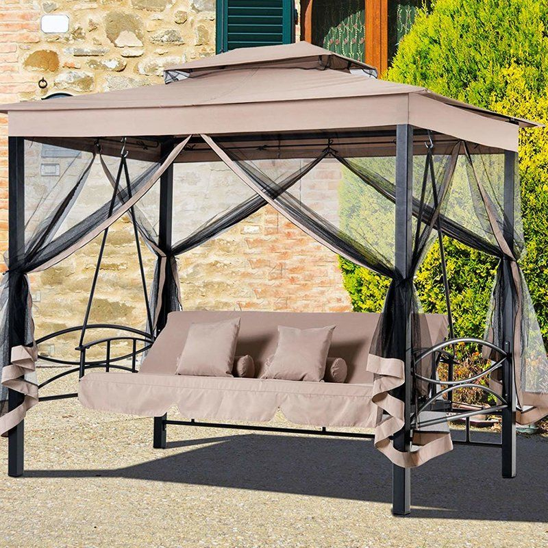 Kenyatta Outdoor Patio Daybed Canopy Gazebo Swing With Mesh Intended For Canopy Patio Porch Swing With Stand (View 12 of 20)