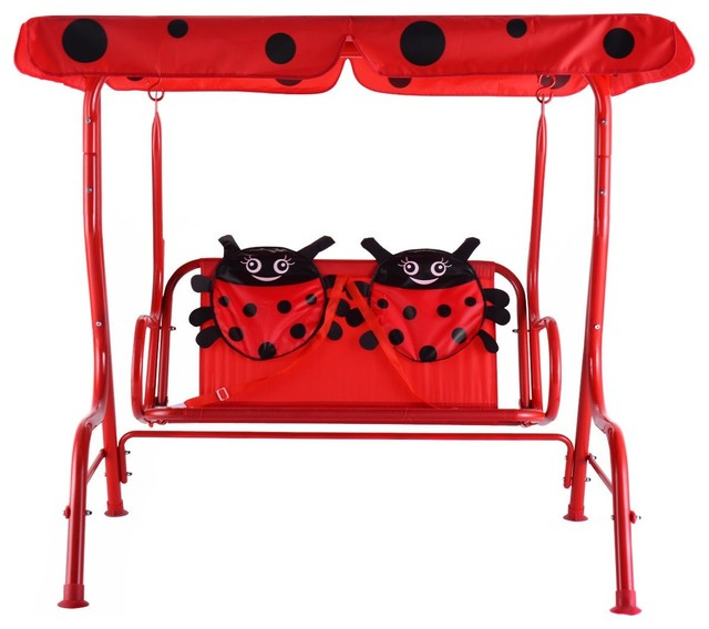 Kids Patio Swing Chair Children Porch Bench Canopy 2 Person Yard Furniture Red Regarding 2 Person Adjustable Tilt Canopy Patio Loveseat Porch Swings (View 19 of 20)