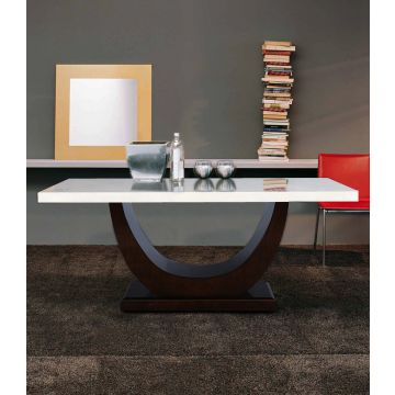 Kingsley Solid Wood Marble Top Six Seater Dining Table In Ivory Colour Hometown In Most Up To Date Wood Top Dining Tables (View 8 of 20)