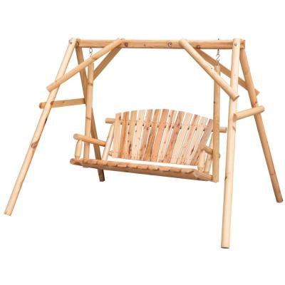 Lakeland Mills 3 Person Patio Yard Swing Cfu28 – The Home Depot Intended For 3 Person Natural Cedar Wood Outdoor Swings (#11 of 20)