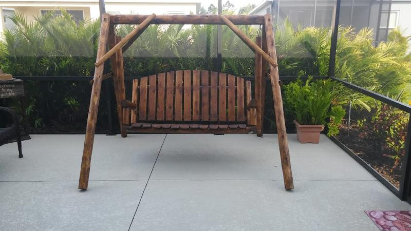 Inspiration about Lakeland Mills Country Garden Porch Swing With Stand Within 3 Person Natural Cedar Wood Outdoor Swings (#10 of 20)