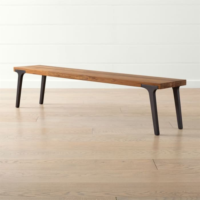 """Lakin 79"""" Recycled Teak Bench With Regard To Speckled Glider Benches (View 16 of 20)"""
