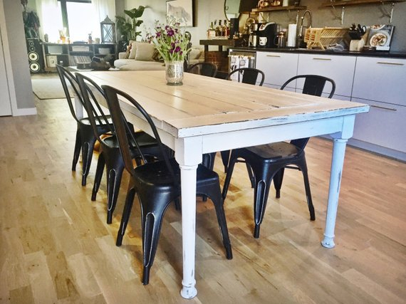 Inspiration about Large Rustic Farmhouse White Farm Dining Table (#1 of 20)