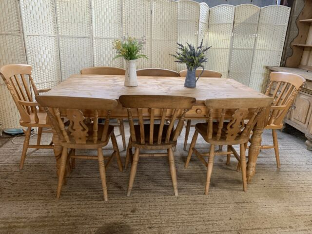 Inspiration about Large Rustic Look Dining Tables Pertaining To Fashionable Large Vintage Pine Farmhouse Dining Table And 8 Country Chairs 6Ft Kitchen  2X1M (#19 of 20)