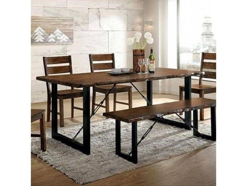 Inspiration about Large Rustic Look Dining Tables Throughout Newest Dining Table Industrial Room Round Style Chairs And Bench (#9 of 20)