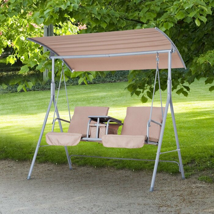 Laron Covered Patio Porch Swing With Stand With Regard To Patio Porch Swings With Stand (View 5 of 20)