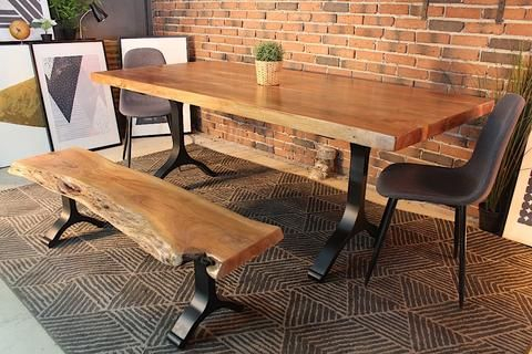 Inspiration about Latest Acacia Dining Tables With Black Legs Within Acacia Straight Cut Dining Table With Black Y Shaped Legs (#7 of 20)