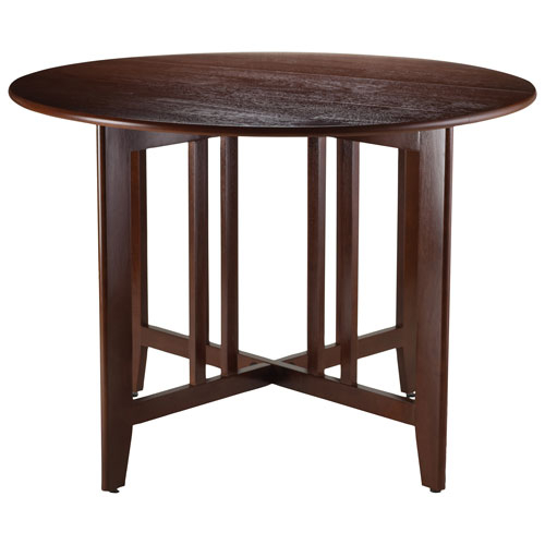 Inspiration about Latest Alamo Transitional 4 Seating Double Drop Leaf Round Casual Dining Table –  Antique Walnut Throughout Transitional Antique Walnut Square Casual Dining Tables (#13 of 20)