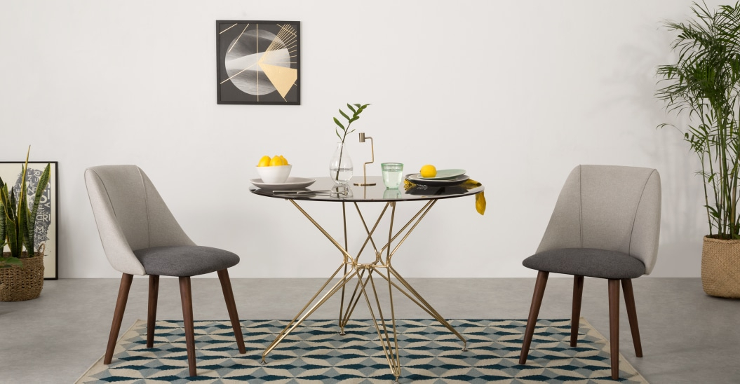 Inspiration about Latest Belden 4 Seat Round Dining Table, Glass And Copper Inside 4 Seater Round Wooden Dining Tables With Chrome Legs (#8 of 20)