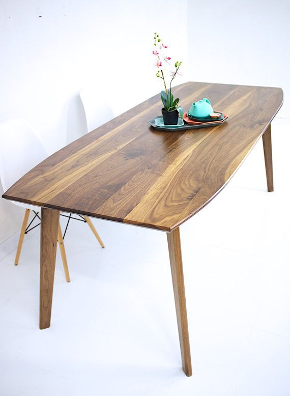 Inspiration about Latest Dining Table, Walnut Dining Table, Modern Walnut Table, Wood Regarding Mid Century Rectangular Top Dining Tables With Wood Legs (#10 of 20)