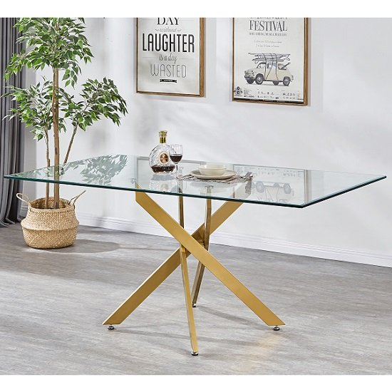 Latest Dining Tables With Brushed Gold Stainless Finish Inside Daytona Clear Glass Large Dining Table With Brushed Gold Base (#11 of 20)