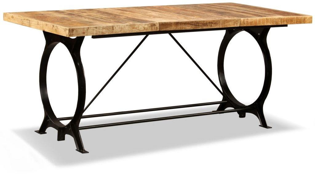 Latest H4Home Industrial Style Dining Table Mango Wood And Metal Throughout Iron Dining Tables With Mango Wood (#18 of 20)