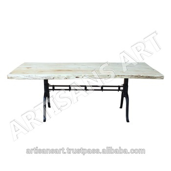 Inspiration about Latest Industrial Custom Made Live Edge White Dining Table Natural Edge,white  Finish Acacia Slab Furniture Manufacturer And Exporter – Buy Live Edge  Metal With Regard To Acacia Wood Dining Tables With Sheet Metal Base (#4 of 20)