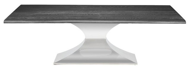 """Latest Long Dining Tables With Polished Black Stainless Steel Base Throughout Hiero Dining Table Oxidized Grey Oak Top Polished Stainless Steel Base 112"""" (#6 of 20)"""