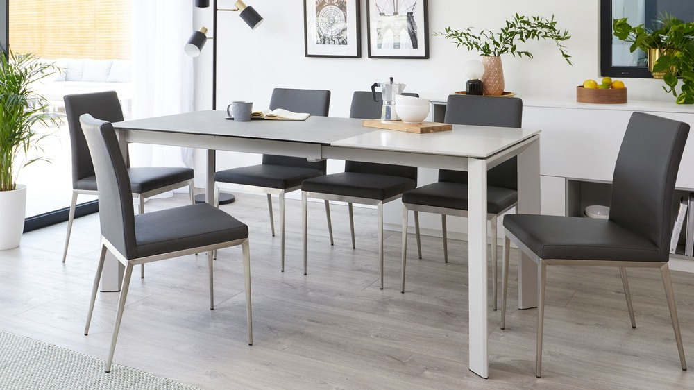 Inspiration about Latest Louis Light Grey Ceramic And Lucia Extending Dining Set With Regard To Extension Dining Tables (#6 of 20)