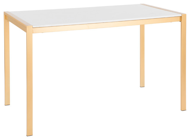 Latest Modern Gold Dining Tables With Clear Glass Throughout Lumisource Fuji Modern/glam Dining Table, Gold Metal With White Marble Top (#8 of 21)