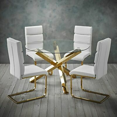 Inspiration about Latest Modern Polished Gold Round Clear Glass Dining Table (#21 of 21)