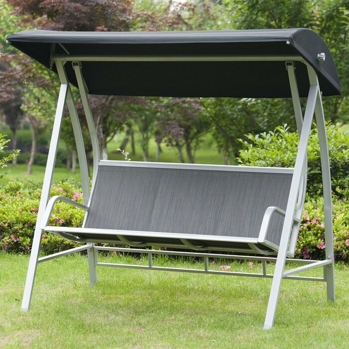 Inspiration about Latura Outdoor Pvc Coated Polyester Porch Swing With Stand Pertaining To Outdoor Pvc Coated Polyester Porch Swings With Stand (#1 of 20)