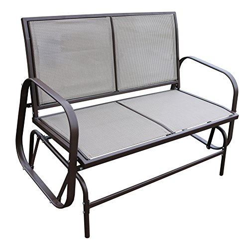 Le Papillon Outdoor Glider Bench 2 Person Loveseat Chair Patio Swing, Coffee In Black Outdoor Durable Steel Frame Patio Swing Glider Bench Chairs (View 15 of 20)