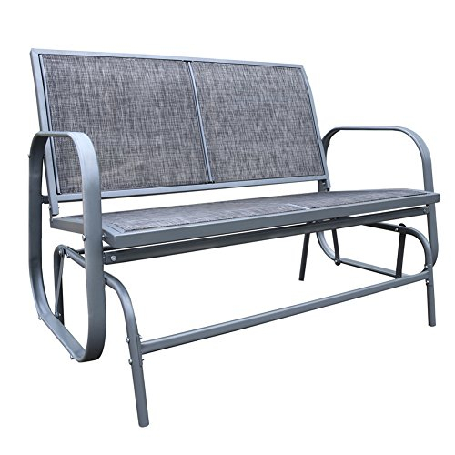 Inspiration about Le Papillon Outdoor Glider Bench 2 Person Loveseat Chair Patio Swing, Grey In Loveseat Glider Benches (#18 of 20)