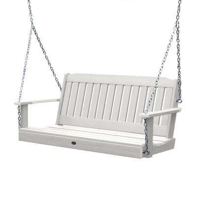 Inspiration about Lehigh 60 In. 2 Person White Recycled Plastic Porch Swing For CasualThames White Wood Porch Swings (#12 of 20)