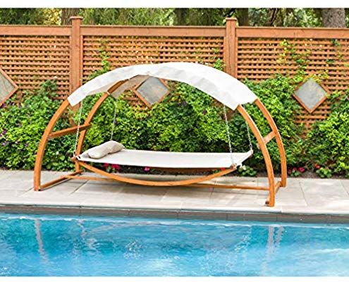 Inspiration about Leisure Season Sbwc402 Swing Bed With Canopy – Brown – 1 In Garden Leisure Outdoor Hammock Patio Canopy Rocking Chairs (#5 of 20)