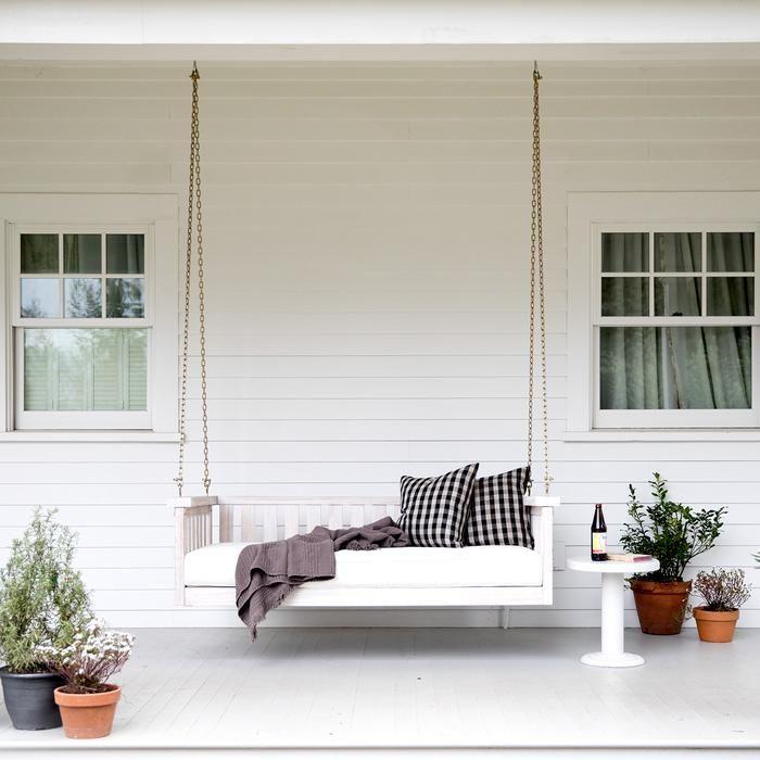 Linen Check Pillow – Euro | Outdoor Decor, Room Decor, Decor Inside Lamp Outdoor Porch Swings (View 4 of 20)