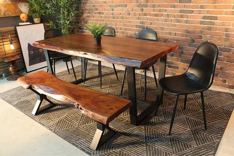 Inspiration about Live Edge Acacia Dining Table With Black U Legs – Honey Walnut Pertaining To Recent Dining Tables With Black U Legs (#19 of 20)