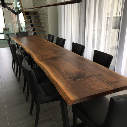 Popular Photo of Walnut Finish Live Edge Wood Contemporary Dining Tables
