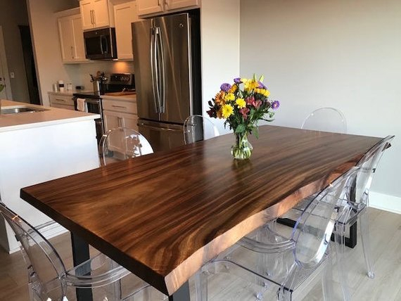 Live Edge Dining Table Made In A Modern Rustic Finish With Pertaining To 2020 Walnut Finish Live Edge Wood Contemporary Dining Tables (#6 of 20)