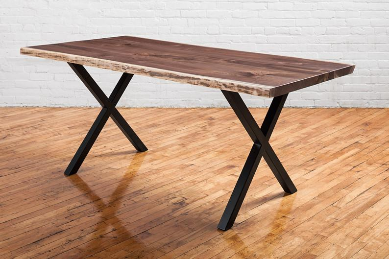 Live Edge Dining Table Made With Black Walnut – Rustic Dining Table –  Custom Options Available, Handmade In Toronto Throughout Well Known Walnut Finish Live Edge Wood Contemporary Dining Tables (#7 of 20)