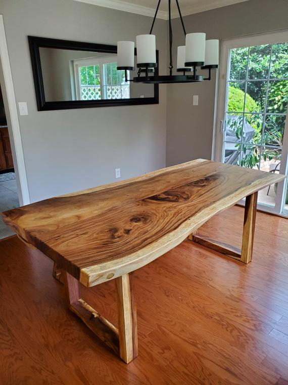 "Live Edge Wood Slab Dining Table From Acacia Wood 79"" X 38"" With Wooden Legs . Modern Contemporary Dining Room Furniture (View 17 of 20)"