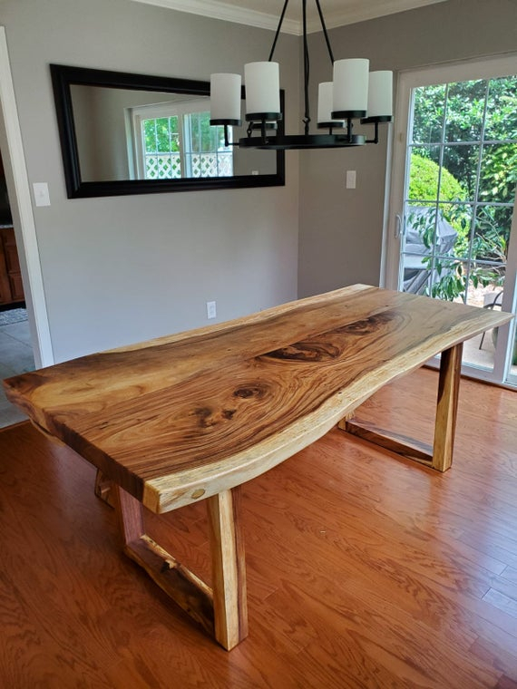 """Inspiration about Live Edge Wood Slab Dining Table From Acacia Wood 79"""" X 38"""" With Wooden  Legs . Modern Contemporary Dining Room Furniture . Kitchen Table Throughout 2019 Acacia Dining Tables With Black X Legs (#19 of 20)"""