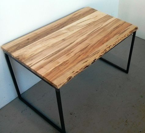 Live Edge Wormy Maple Condo Size Dining Table Pertaining To Most Current Acacia Wood Top Dining Tables With Iron Legs On Raw Metal (#16 of 20)
