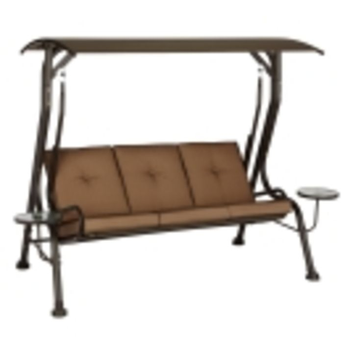 Inspiration about Living Accents Steel 3 Person Swing With Canopy Regarding 3 Person Brown Steel Outdoor Swings (#15 of 20)