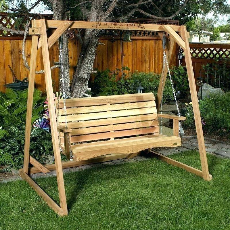 Inspiration about Lodge Wood Swing Set Cedar Frame Log And Porch Swings For For Pergola Porch Swings With Stand (#19 of 20)