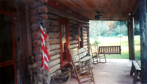 Inspiration about Log Cabin Lodge | Ethridge Farms Bed & Breakfast For American Flag Porch Swings (#11 of 20)