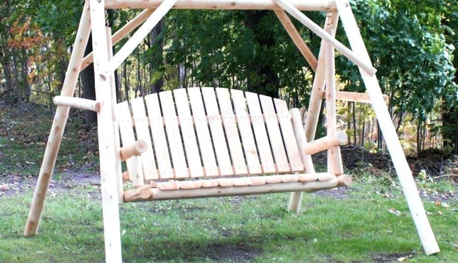 Inspiration about Log Swing Set – Alicemoreau Creations Throughout 2 Person Natural Cedar Wood Outdoor Swings (#7 of 20)