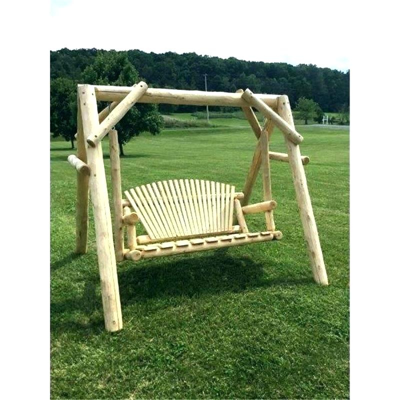 Log Swing Set – Alicemoreau Creations With 2 Person Natural Cedar Wood Outdoor Swings (View 10 of 20)