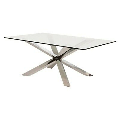 "Inspiration about Long Dining Tables With Polished Black Stainless Steel Base Inside Well Known 78.8"" L Leah Dining Table Tempered Glass Polished Stainless Steel Modern  Base (#5 of 20)"